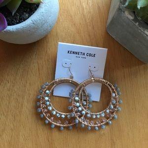 Kenneth Cole dangly beaded hoop earrings